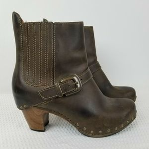 DANSKO Rihanna Brown Leather Studded Buckle Boots